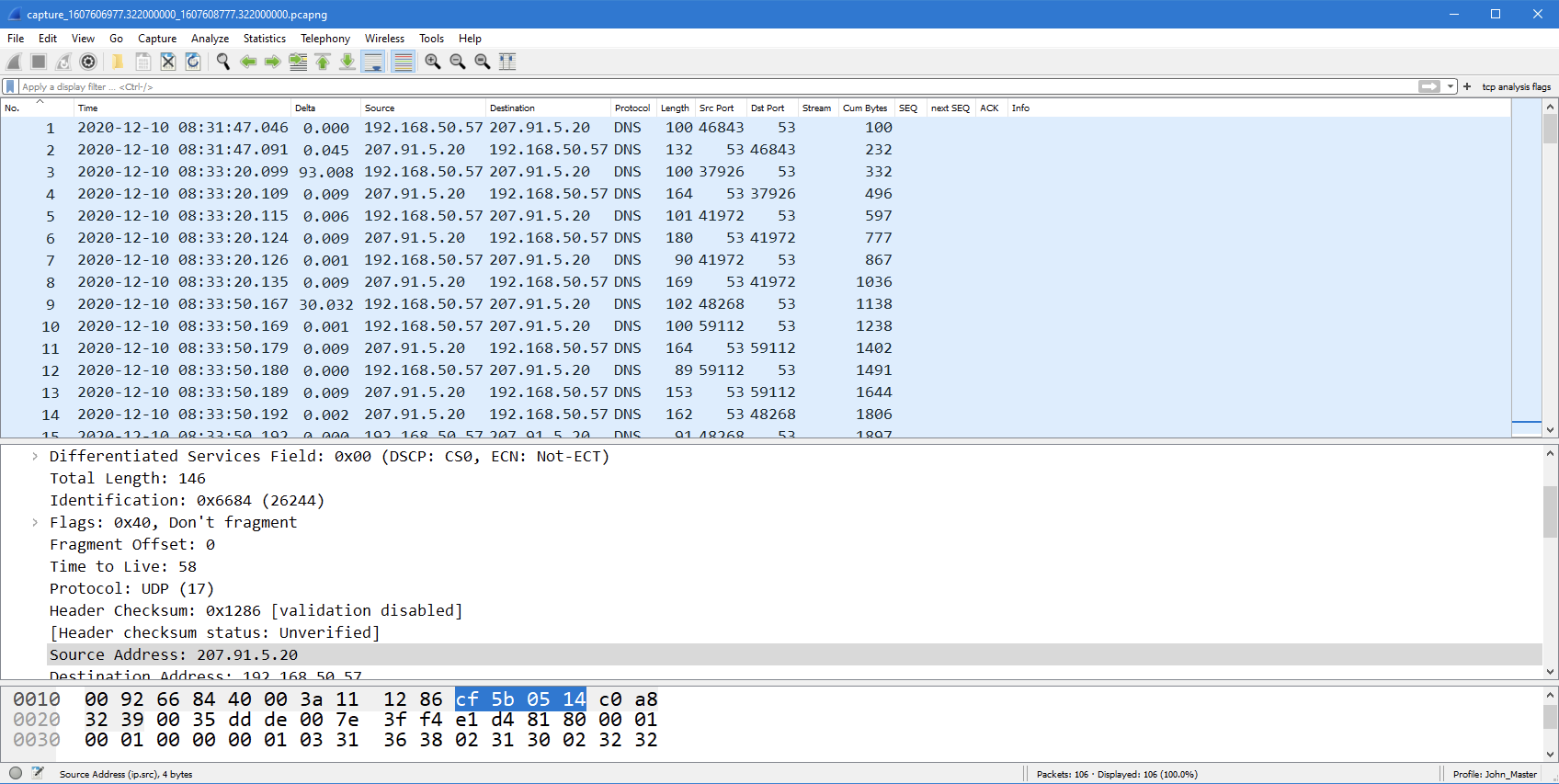 Filtered PCAP export from IOTA shown in Wireshark